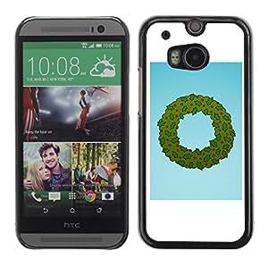 Cubierta de la caja de protección la piel dura para el HTC ONE M8 2014 - wreath christmas holidays winter santa