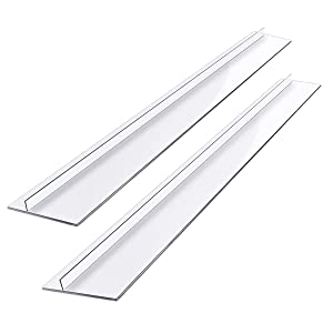 "Kitchen Silicone Stove Counter Gap Cover, 25"" Easy Clean Heat Resistant Wide & Long Gap Filler, Seals Spills Between Counter, Stovetop, Oven, Washer & Dryer, Set of 2, Translucent"