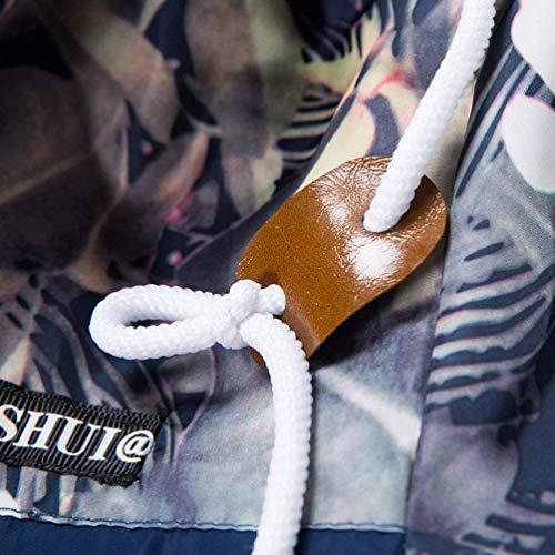 Casual Da Camouflage Maniche Cappotto Coulisse Cappuccio Con Navy Felpa Uomo A Giacche Lunghe Semplice Sportswear Stampa Stile Floreale Giacca EPqgAYg