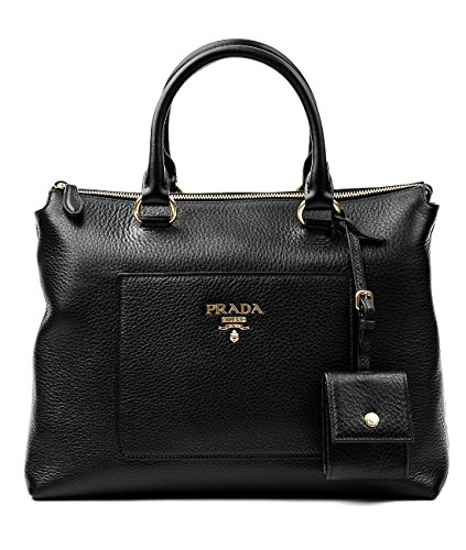 Prada Duffel (Wiberlux Prada Women's Pebbled Real Leather Gold Logo Detail Two-Way Carry Bag One Size Black)