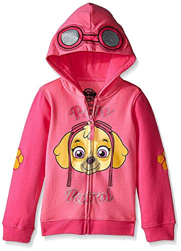Paw Patrol Little Girls' Skye Toddler Hoodie, Hot Pink/Heather Pink, 5T -