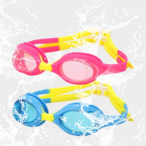SBORTI 2 Pack Kids Swimming Goggles,No Leaking,Anti Fog,UV Protection Swim Glasses Water Goggles (Blue+Red)