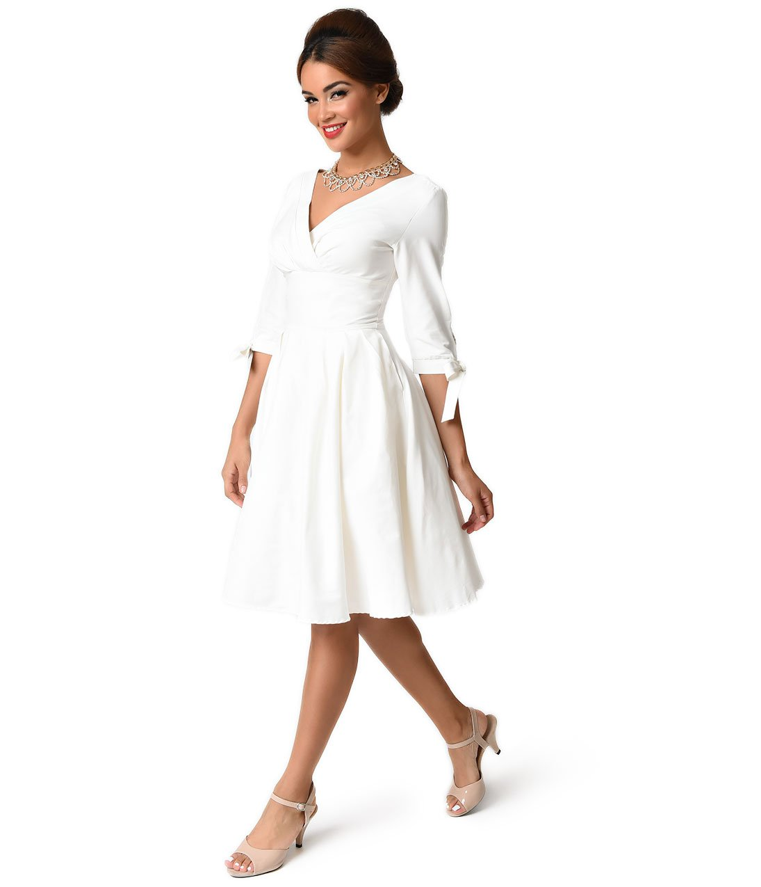 Unique Vintage 1950s Style White Three-Quarter Sleeve Diana Swing Dress by Unique Vintage