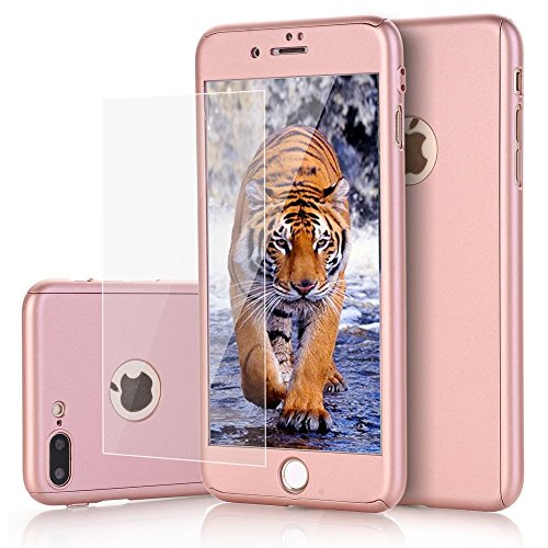 - iPhone 8 Plus Case, ZAOX 360 Full Body Protection Durable Hard Slim Protective Case Matte Surface Dual Layer Design Cover with Tempered Glass Screen Protector for Apple iPhone 8 Plus 5.5 (Rose Gold)