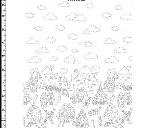 Michael Miller Mouse House 'Color Me' Christmas Candy Border White Cotton Fabric 44-45 Inches Wide - Michael Miller Candy