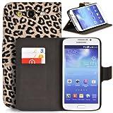 Donzo - Funda para Samsung Galaxy Mega 5.8 GT-I9150 y GT-I9152 marrón marrón oscuro WALLET LEOPARD