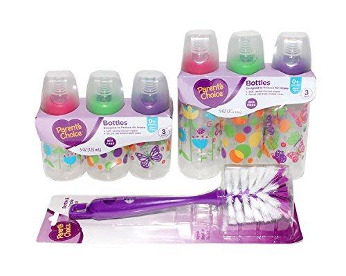 Baby Bottles and Bottle Cleaning Brush Bundle (Girl) (Bottles Choice Baby)