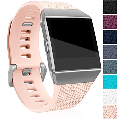 Maledan Replacement Bands Compatible for Fitbit Ionic Smart Watch, Blush Pink, Small