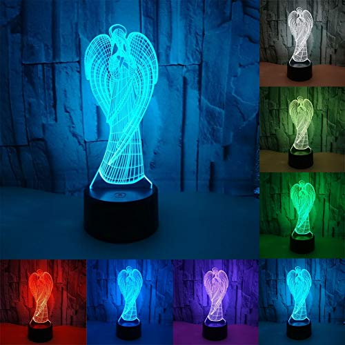 Lamp Table Tiffany Angels (3D Illusion Night Light, 3W 5V USB Powered By, Angel Shape Decoration Lamps, 7 Colors, Touch Switch Desk Decoration Birthday Present)