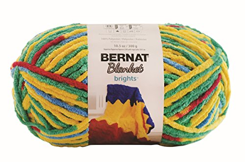 Bernat Crochet Patterns (Bernat Blanket BrightsYarn - (6) Super Bulky Gauge  - 10.5 oz - Rainbow Shine Variegate  -  Machine Wash & Dry)