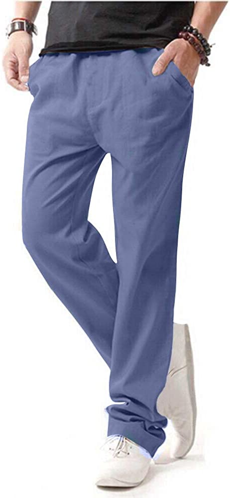 Hoerev Men Casual Beach Trousers Linen Jean Jacket Summer Pants