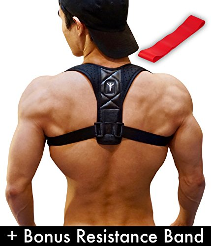 Rounded Support (Posture Corrector: Upper Back Brace And Clavicle Support Plus Bonus Resistance Band. Correct Bad Posture, Rounded Shoulders, And Relieve Back And Neck Pain - For Men & Women (Large))
