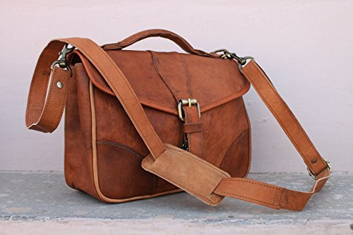Pascado Handmade Girl's women's Genuine Leather Satchel style Purse Small Crossbody shoulder Messenger Bag with top handle