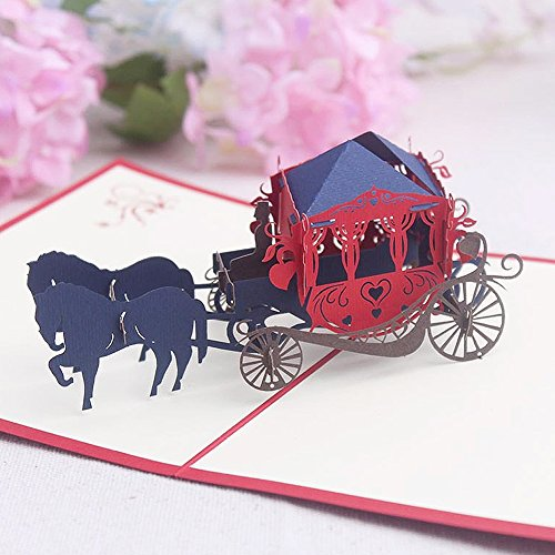 Creative All Occasion Greeting Cards - Ambithou 3D Pop Up Handmade Foldable Carriage Greeting Card for Every Occasion, Birthday,Wedding,Valentine's Day, Halloween, Christmas Eve for $<!--$7.99-->