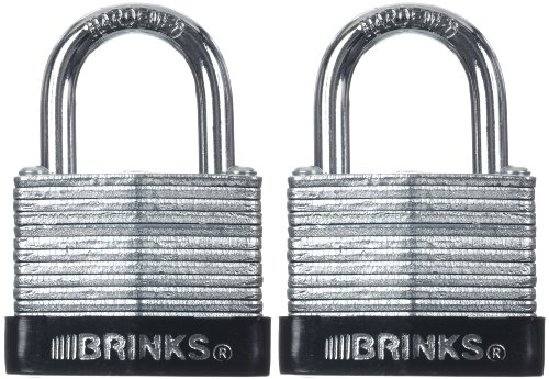 Brinks 165-30211 1-1/4-Inch 30mm Laminated Steel Padlock with Warded Locking Mechanism, 2-Pack