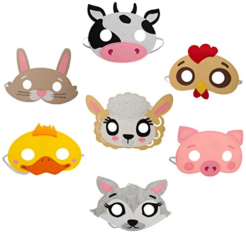 Lilly and the Bee Novelties Farm Animal Felt Mask 7 Piece Party Pack