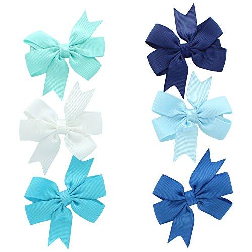 "My Lello Small 2.5"" Girls Hair-Bow Boutique Pinwheel Mixed Variety 6 Pack Aqua/White/Turquoise/Navy/Light Blue/Nautical Blue"