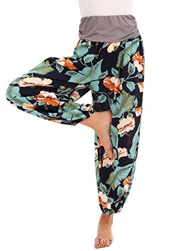 FISOUL Womens Harem Trousers Hippy Aladdin Boho Style Yoga Harem Pants Casual Navy L