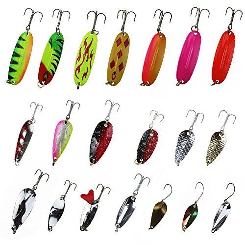 (RUNATURE Trout Lures Set Kit Saltwater Trolling Spoons Single Hook Fishing Spoons Combo with Fishing Tackle Box for Walleye Pike Salmon (Fishing Spoon Ⅱ 20))