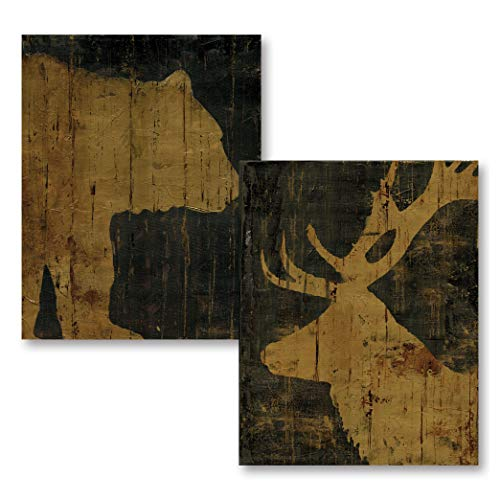 - The Studio Resource, Inc. Rustic Black Brown/Gold Bear Elk Silhouettes; Cabin Lodge Decor; Two 11x14in Prints (Printed on Paper, Not Wood)
