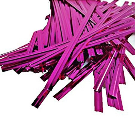 Affluence 100pcs Metallic Pink Twist Ties, 4