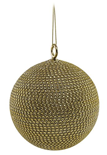 Gold Rhinestone Diamond Beaded Bling Ball Sphere, Hanging Oversized Ornament for Commercial Christmas Tree or Sukkos Indoor/Outdoor Decoration Large 6