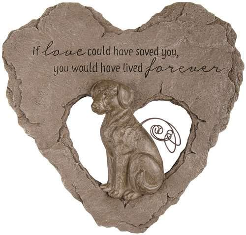 (Devoted Angel Dog Resin Heart Garden Memorial Stepping Stone, 10 Inch)