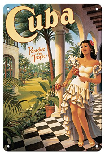 Pacifica Island Art 8in x 12in Vintage Tin Sign - Cuba - Paradise of The Tropics by Kerne Erickson]()