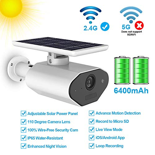 Outdoor Solar Battery Power Security Camera,1080P Wireless Rechargeable Battery IP Camera with Motion Detection, IP CCTV Video Cam with Night Vision and SD Card Slot for Indoor and Outdoor Suveillance
