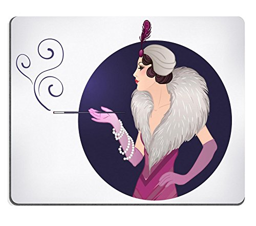 [Luxlady Gaming Mousepad Flapper girl Retro party invitation design template Vector illustration IMAGE ID] (1920s Flapper Hairstyles)