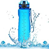 Homiguar Sports Water Bottle, Large Water Bottle, Flip Top with Locking Lid, Leak Proof, BPA Free, 36-Ounce - Grey