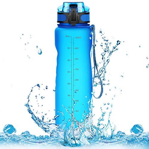 Homiguar Sports Water Bottle, Large Water Bottle, Flip Top with Locking Lid, Leak Proof, BPA Free, 36-Ounce - Blue