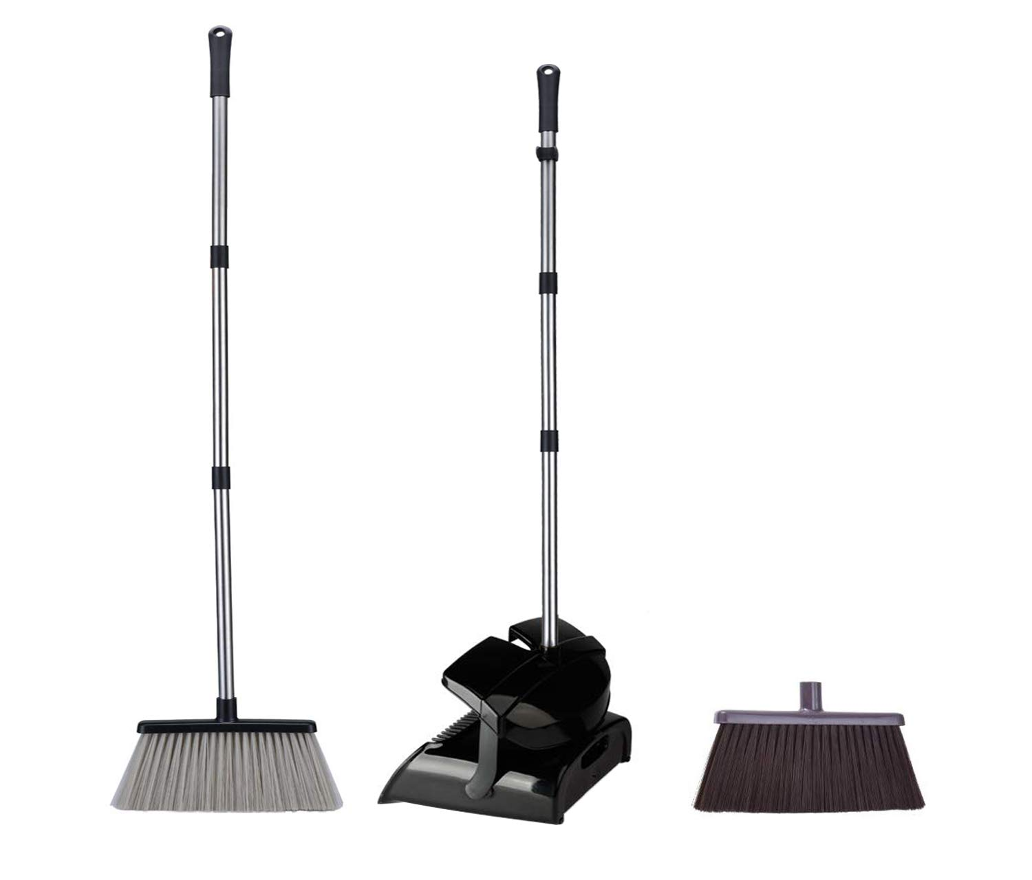 iHomey Dustpan and Broom Set-48''/49'' Overall Length/Stainless Steel Handles/2 Broom Heads Replaceable/4 Layers Bristles(Black) by iHomey