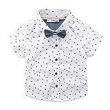 Mud Kingdom Toddler Boy Shirt and Tie Short Sleeve Stars 3T White