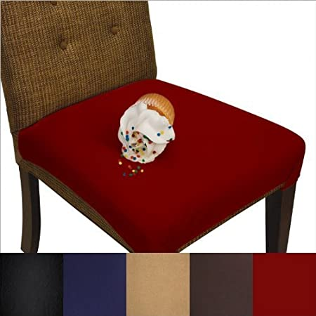 SmartSeat Dining Chair Cover and Protector - Pack of 2 - Burgundy Red - Removable, Waterproof, Machine Washable, Stain Resistant, Soft, Comfortable Fabric for Kids, Pets, Entertaining, Eldercare pb&j Discoveries AMZ-Red-2