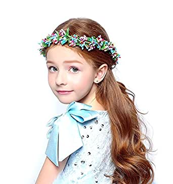 DDazzling Girls Flower Berries Crown Headband Floral Crown with Adjustable Ribbon for Wedding Festivals (Blue and Purple)