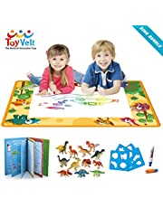 Aqua Magic Doodle Mat Water Doodle Drawing Mat Dinosaur Toy Set - Bundle Includes Painting Coloring Mat, Dinosaur Coloring Book, 12 Dinosaurs Toys - For Boys Girls Age 3 -12 Years old to etch a sketch