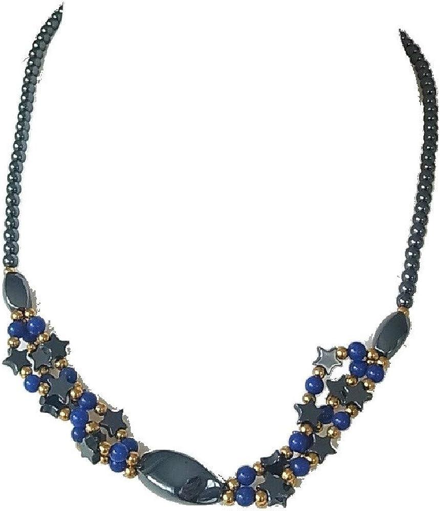 Collar corto con colgante de estrella de hematita y piedras preciosas de color azul