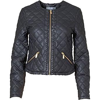 Schwarz Gold Fluid Damen PU Jacke Schwarz - 14 UK 14 Bust 38 Euro 40 ... 67db6fe364