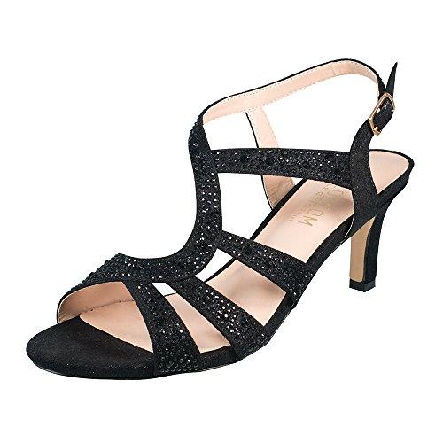 Damesslipje Shimmer Materiaal Kitten Hak T-strap Sandaal Zwart 8