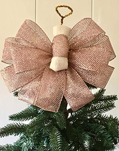 Rose Quartz Angel Tree Topper Handmade/The Frosty Collection/Custom Bows By Jami -