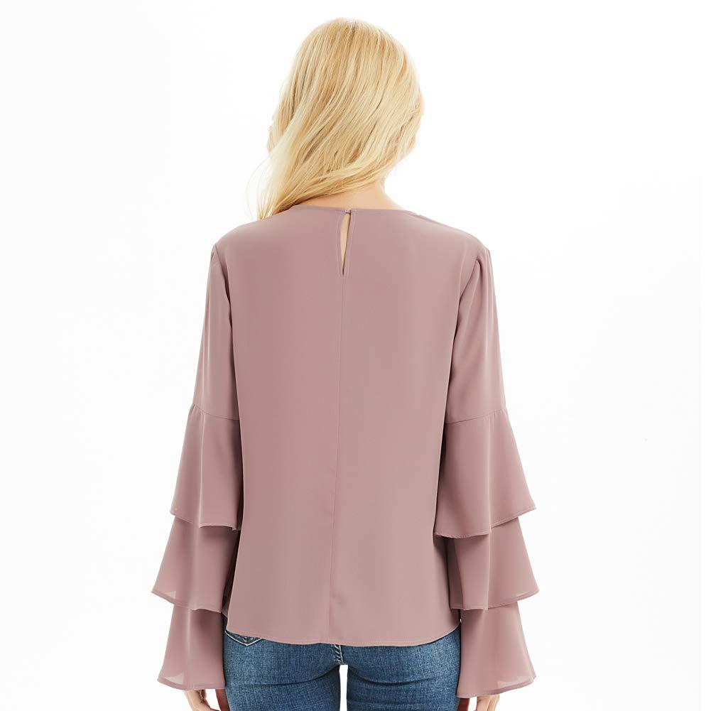 55cb7b33b05 Basic Model Women s Bell Sleeve Tops Round Neck Shirts Ruffled Sleeves Tee  Long Sleeve Blouses at Amazon Women s Clothing store