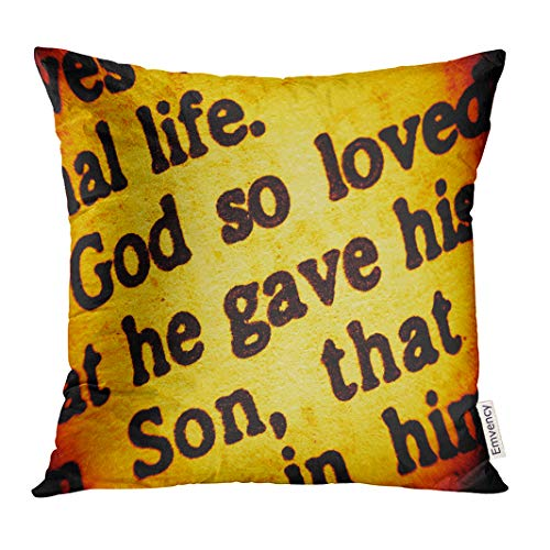 UPOOS Throw Pillow Cover Close Up View on Part of Biblical Text from The Bible Gospel John Chapter 3 Verse 16 Focusing Words God So Decorative Pillow Case Home Decor Square 16x16 Inches Pillowcase (Gospel Of John Chapter 3 Verse 16)