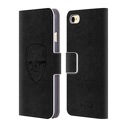 Official Arsenal FC Black Logo 2016/17 Crest Leather Book Wallet Case Cover for iPhone 7 / iPhone 8