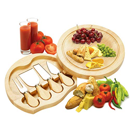 Bakelite Cheese Cutting Board Set - Charcuterie Board Set and Cheese Serving Platter. Perfect Meat/Cheese Board and Knife Set for Entertaining and Serving 4 Knife by Nonbiri88