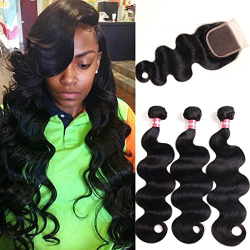 WENYU Brazilian Virgin Body Wave 3.Bundles with Closure 100% Virgin Body Wave Human Hair Weave Weft Extensions with 4x4 Lace Closure Natural Color(22 24 26+20Free Part)