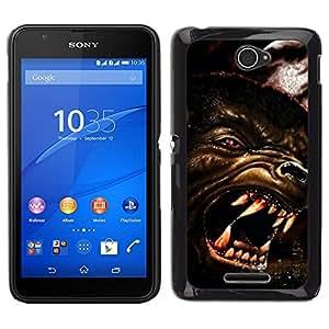 EJOY---Cubierta de la caja de protección para la piel dura ** Sony Xperia E4 ** --Lobo enojado Perro Red Eyes Arte Cara Dientes Hocico