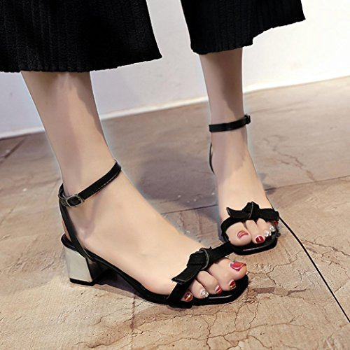 JIANGFU High Heel Sandaletten mit Knoten Dicken Fersenschuhen, Sommer Sandalen Offene Spitze Frauen Starke Ferse Schuhe Gladiator Schuhe Hochzeit Schuhe Black