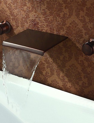 MONFS HOME Brass ORB Finish Widespread Waterfall Wall Mount Basin Faucet