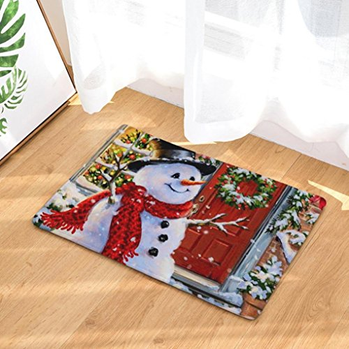 Vacally Home Non Slip Door Floor Mats Hall Snowman Rugs Kitchen Bathroom Carpet Decor Christmas Decorations Perfect Plush Mats for Dining Room, Bedroom (I)